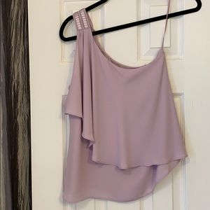 One shoulder sleeveless sheet overlay top
